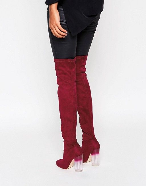 Truffle Collection | Truffle Collection Over The Knee Boot with Clear Heel