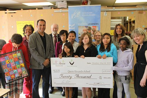 On May 14, 2012 David Sidoo and his wife, Manjy, joined over a dozen students and several administrators from Queen Alexandra and Strathcona Elementary schools to announce a breakfast program donation that will help feed dozens of students each day.  The couple, along with the Vancouver Children's Fund donated 20 thousand dollars towards the inner-city children's breakfast programs.