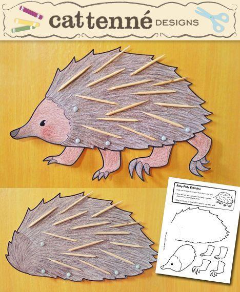 Hedgehog sablont nyomtatni és díszítse fogpiszkálóval: