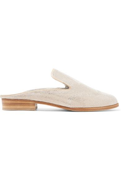 Robert Clergerie - Astre Studded Suede Slippers - Neutral - IT39.5