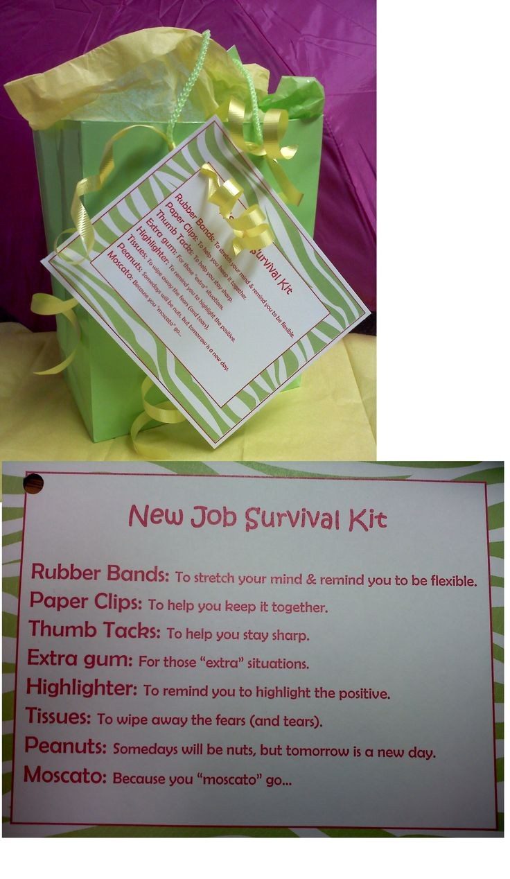 Survival Kit for co-worker who is leaving for a new job. Going away gift.I combined this with the going away one and the owl one and threw in some bubbles for the it blows that you're leaving. Everyone loved it!