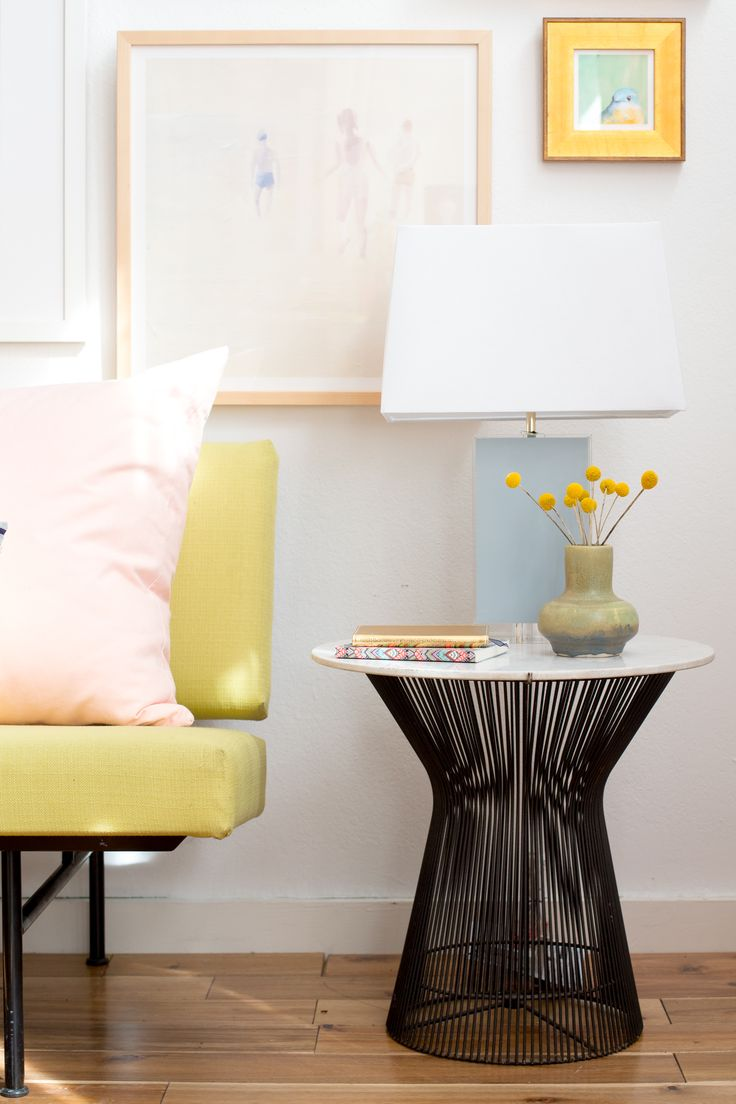 Light pink accent chair 187 home design 2017 - Pastel Gallery Wall Black Side Table Yellow Sofa And Pink Pillow