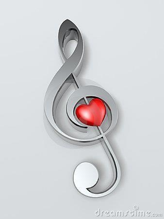Music symbol red hearts