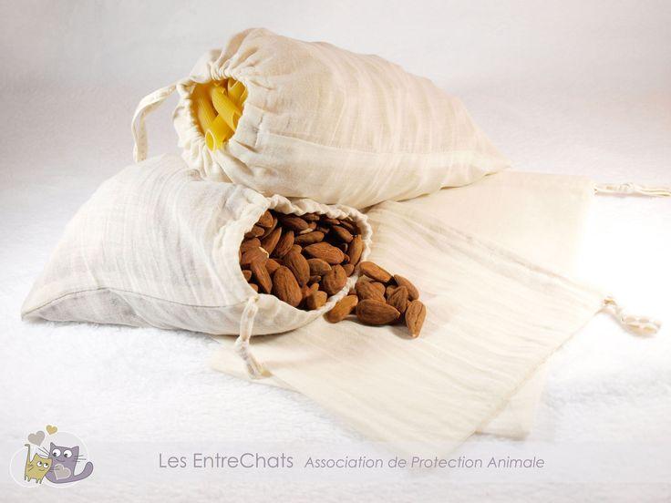 Sacs à vrac en voile de coton biologique pour acheter vos aliments au poids : Autres sacs par les-entrechats