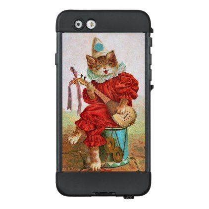 Cat in Red Jester Outfit Hat Playing Madolin Drum LifeProof NÜÜD iPhone 6 Case - red gifts color style cyo diy personalize unique