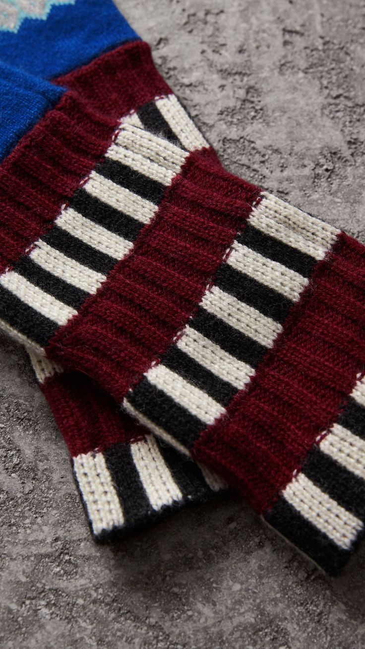 Striped Fair Isle Cashmere Wool Fingerless Gloves in Bright Blue | Burberry United States