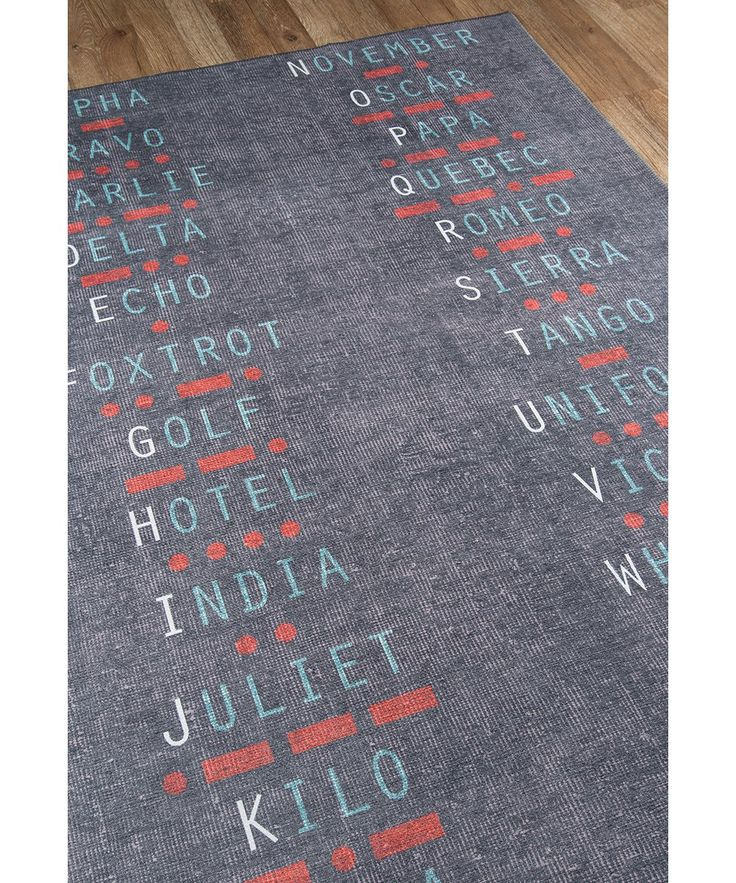 Charcoal Novogratz Rug Nato Alphabet ,ICAO phonetic alphabet International Radiotelephony Spelling Alphabet Perfect for veterans or current servicemen or women. Spice up your home with this rug on the floor or wall. #army #navy #airforce #marines #police #fbi #cia #USA #America #red #white #blue #interior #design #eclectic #collectibles