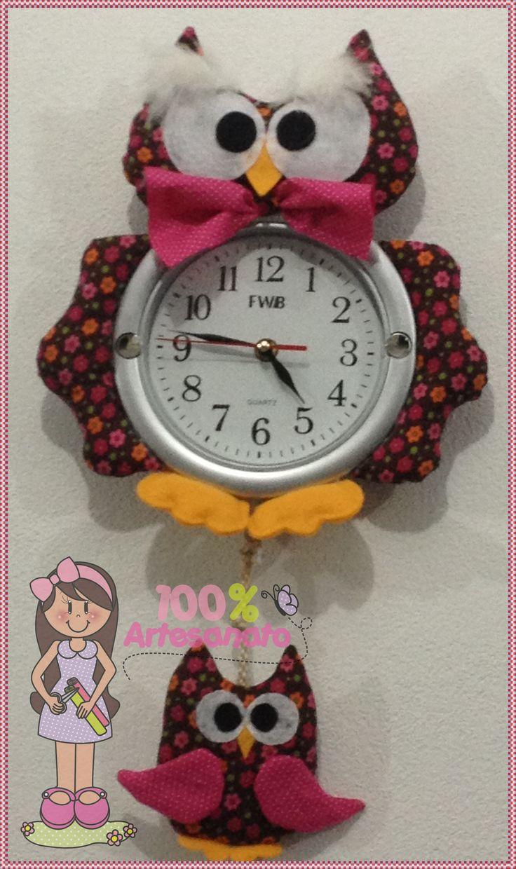 Relógio de parede de coruja, feito em tecido!                                                                                                                                                                                 Mais