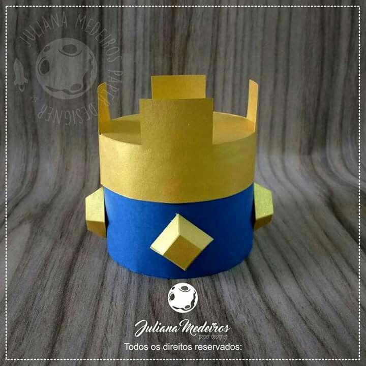 Caixa coroa medieval. Clash Royale Party, festa Clash Royale, paper box, papercut, arquivo para silhouette, coroa 3d, crown box