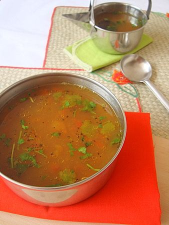 Rasam or Charu is an essential part of a traditional Andhra bhojanam (meal). Comforting, earthy, warm with health supporting properties, pepper flavored charu is seasoned with ghee and asafoetida, garnished with fresh coriander. Works as a perfect antidote for a runny nose.