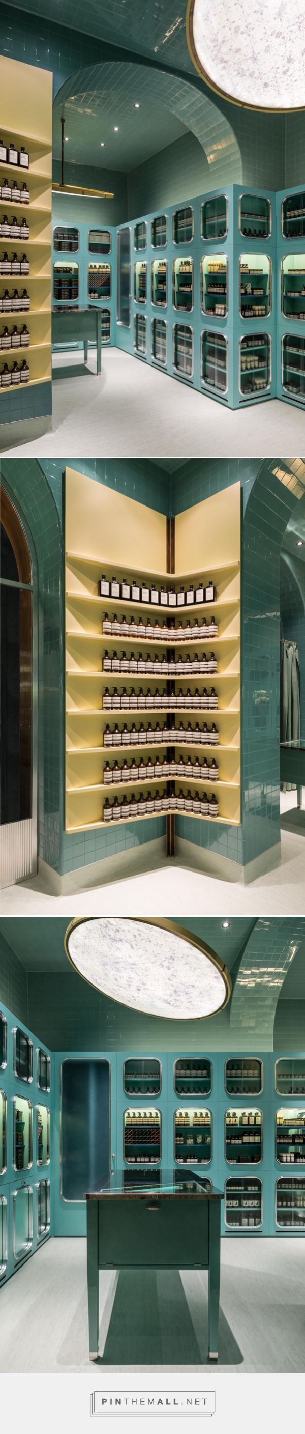 Dimore Studio Emboldens Aēsop With Deep Green On Corso Magenta.  Architecture InteriorsRestaurant DesignMagenta