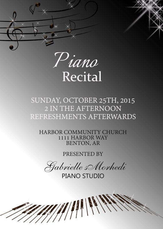 17 best images about piano recital invitations on