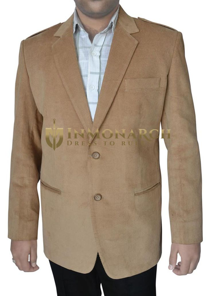 Mens Tan Corduroy Blazer Two Button