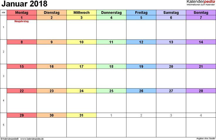 Kalender Januar 2018 (Querformat) als PDF-Vorlage