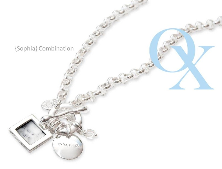 Sophia combination- One of our most popular combination! Customizable everyday circle, sm double sided photo pendant, and our swarovski square on our rolo grande chain. www.lovelinx.ca