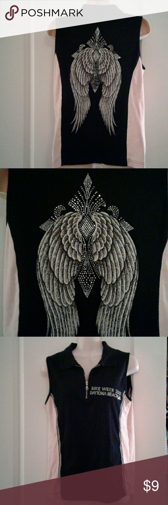 Biker wear embellished angel wings top In very good condition sleeveless Bike Week Daytona Beach with embellished angel wing back. 100% cotton measures 19 - 20 inches across chest 23 inches long Vance Bikerwear Tops Tank Tops