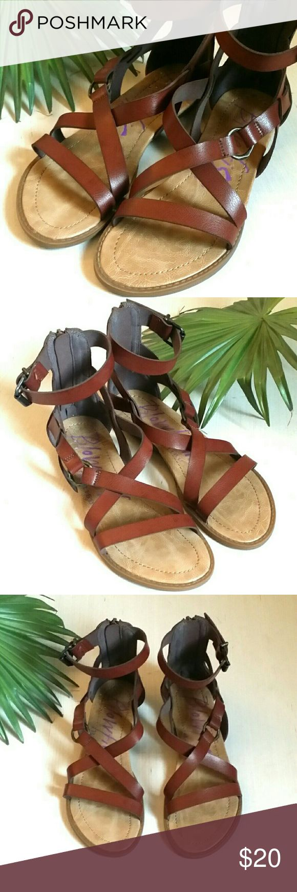 "Blowfish Gladiator Sandals EUC Blowfish Gladiator Sandals EUC Brown leather-like straps with bronze colored buckle and decorative hoop.  Zippered back, in perfect working order. Slight wedge heel 1"" Size 6 1/2  Only worn a few times!  Comfortable & on trend! Blowfish Shoes Sandals"