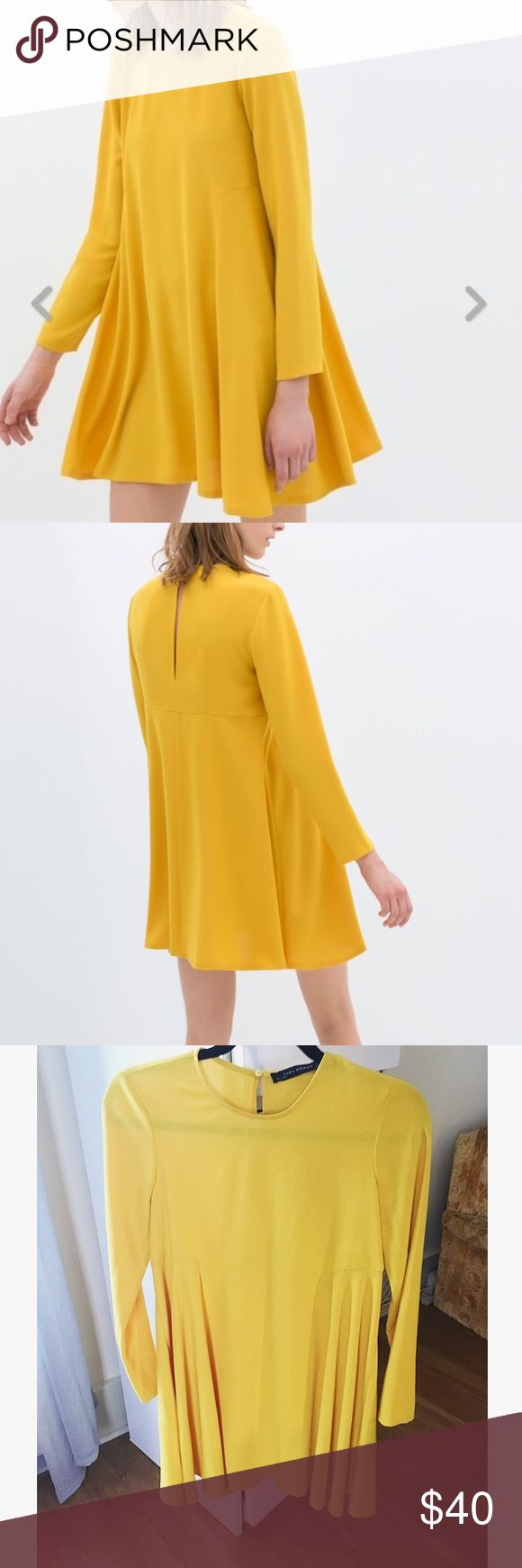 Yellow long sleeve Zara dress out of stock! Long sleeve golden/ mustard yellow Zara dress perfect for fall! Still has tags. Very minor defect on the front seam seem picture. Length: 32 inches, armpit to armpit: 16.5 inches model photos grabbed from searching or the Zara website. Zara Dresses Long Sleeve