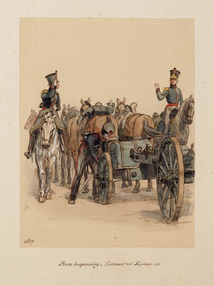 Trein-bespanning, luitenant van de trein en een kapitein van de veldartillerie