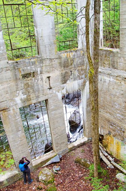 Inside the Thomas Carbide Wilson Ruins in Gatineau Park, Quebec