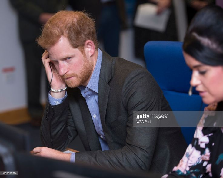 Prince Harry answers calls from veterans in the call centre during his visit to Veterans UK to mark the 25th anniversary of the Veterans UK Helpline Service on October 23, 2017 in Norcross, England.