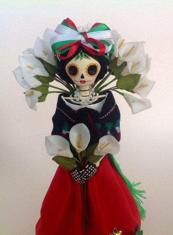 mexicana vendedora de alcatraces catrina de papel mache
