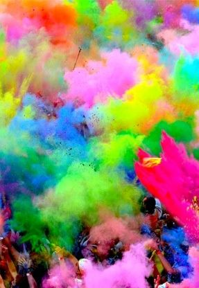 Looks like one of the festivals where participants get covered with colored spray.