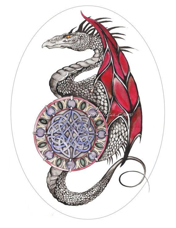 celtic dragon original art print by aphotica on Etsy, $10.00