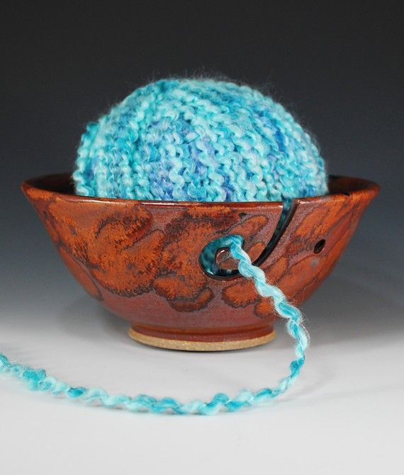 Yarn bowl/Knitter's bowl in Copper Lava by CarolBroadleyPottery