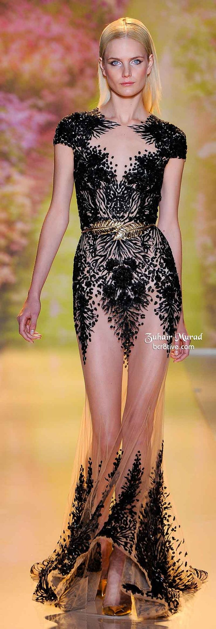 Sheer Dress With Black Lace and Gold Belt. Zuhair Murad Spring 2014 Haute Couture