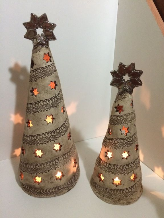 Ceramic trees with cut-out hears and pressed lace - pretty with a tea-light or candle
