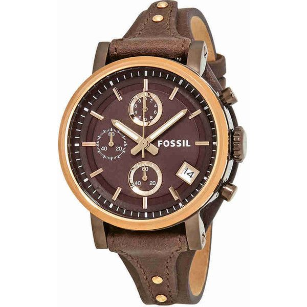 Fossil Original Boyfriend Chronograph Brown Dial Ladies Watch ($124) ❤ liked on Polyvore featuring jewelry, watches, chronograph watches, analog watches, water resistant watches, fossil jewelry and round watches