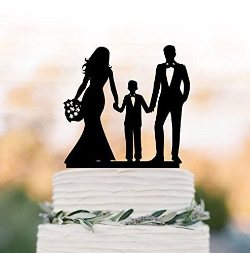 Family Wedding Cake Topper with Son and Doughter Bride and Groom with Boy and Girl Silhouette Cake Topper - CO18282EOIM,Event & Party Supplies, Shop By Collection, Children's Party Supplies, Shop By Events, Bridal Shower, Children's Party Supplies #Event #Party #Decoration #Children's Party Supplies