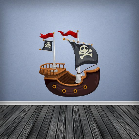 Cartoon Pirate Ship Porthole Wall Sticker    Available in 2 Sizes:    Regular - 30cm x 30cm  Large - 60cm x 60cm    Our Wall Stickers are made