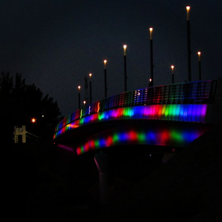 The Jedlik Ányos #bridge in #Győr #Hungary is all colorful and fun when it changes colors.  #ThisisGyőr #MagicMagyar