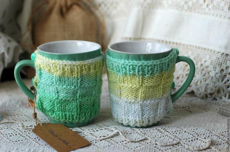 Купить Кружка в свитере Мятный чай - мятный, кружка в подарок, кружка для чая, кружка