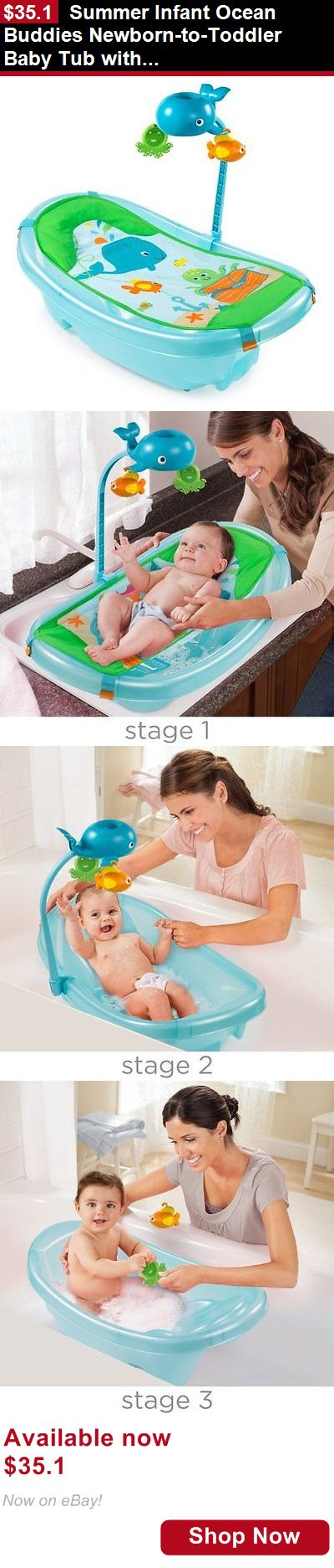 Baby Bath Tubs: Summer Infant Ocean Buddies Newborn-To-Toddler Baby Tub With Toy Bar BUY IT NOW ONLY: $35.1