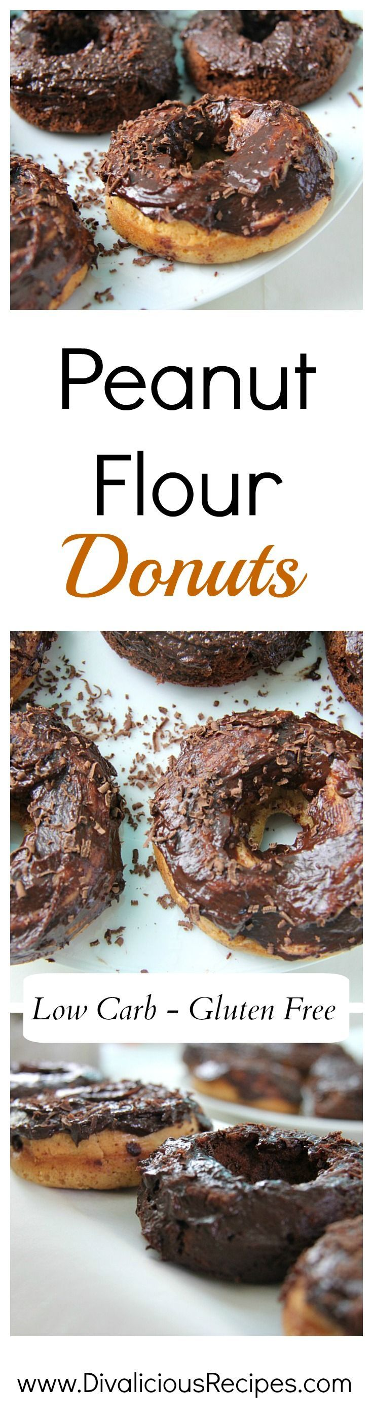 Peanut flour donuts that are baked.  Low carb, grain free and gluten free.