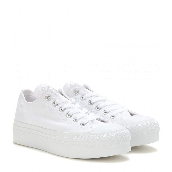 Converse Chuck Taylor Platform Sneakers (3,585 THB) ❤ liked on Polyvore featuring shoes, sneakers, white, platform sneakers, converse shoes, white sneakers, platform shoes and converse footwear
