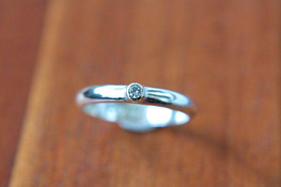 Simple Diamond Engagement Ring White Diamond Ring by ManariDesign, $117.00