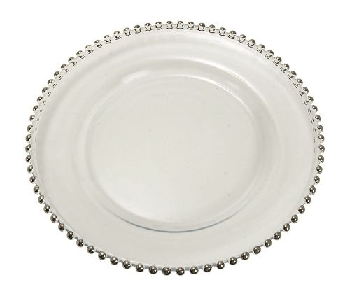 Glass Charger Plates With Silver Beads a bridal favorite for decorating your tables elegantly!  sc 1 st  Pinterest & 128 best Chargers images on Pinterest | Place mats Charger plates ...