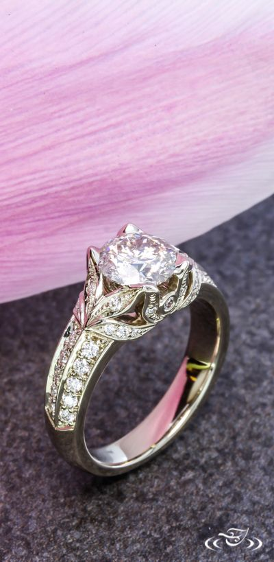 Double Leaf Engagement Ring. Green Lake Jewelry 108643