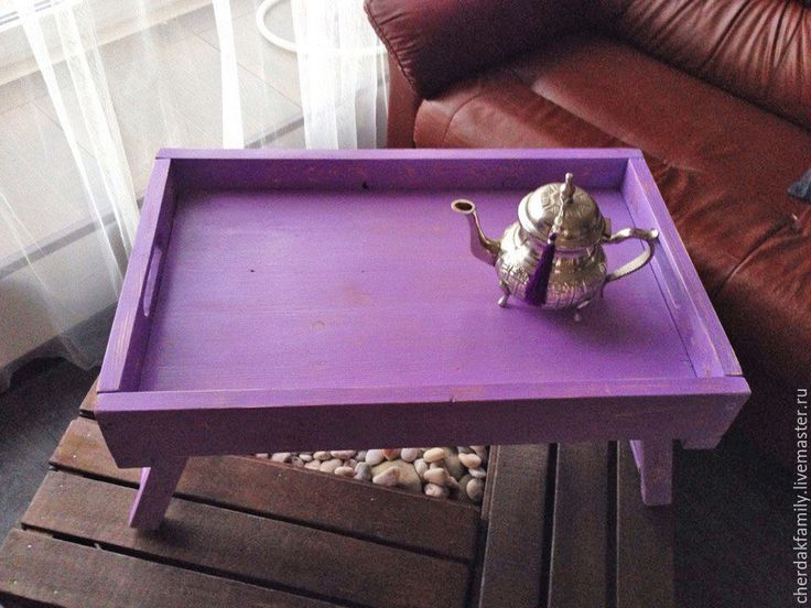 Купить Столик-поднос для завтрака - поднос, брусничный, фиолетовый, лиловый, поднос для завтрака, деревянный поднос