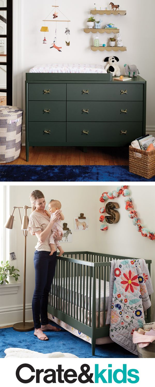 The hampshire olive collection has clean timeless designs thatll effortlessly match your nursery with a crib that transforms into a