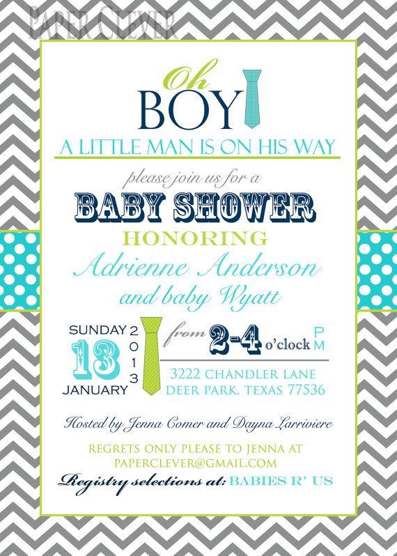 Boys baby shower invitation oh boy, tie,chevron stripe, via Etsy.
