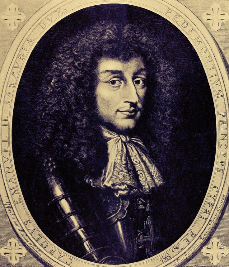 Charles Emmanuel II, Duke of Savoy (1634-1675) was the fourth child and third son of Christine de France, Duchess of Savoy and Victor Amadeus I, Duke of Savoy.  Charles' elder brother, Francis Hyacinth, became Duke of Savoy on their father's death, but when Francis Hyacinth died a year later, the title was passed to Charles Emmanuel.  His mother ruled as his regent in his minority, and even after he reached his majority, since Charles Emmanuel invited her to rule.
