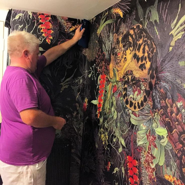 Tropical Clouded Leopard going up in the London Showroom. Getting ready for #londondesignfestival2017