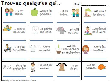 Primary French Immersion Resources: Back to school activities