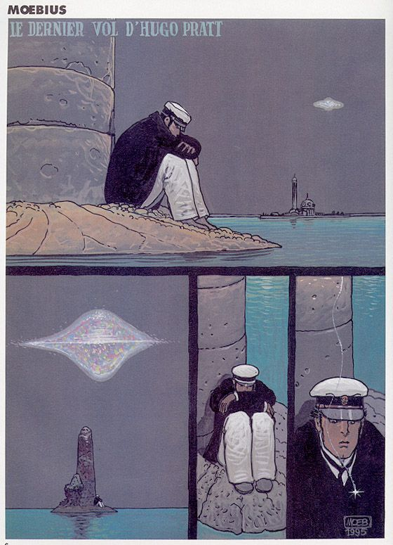 """Story by Moebius published in """"A Suivre"""" following the death of Hugo Pratt"""