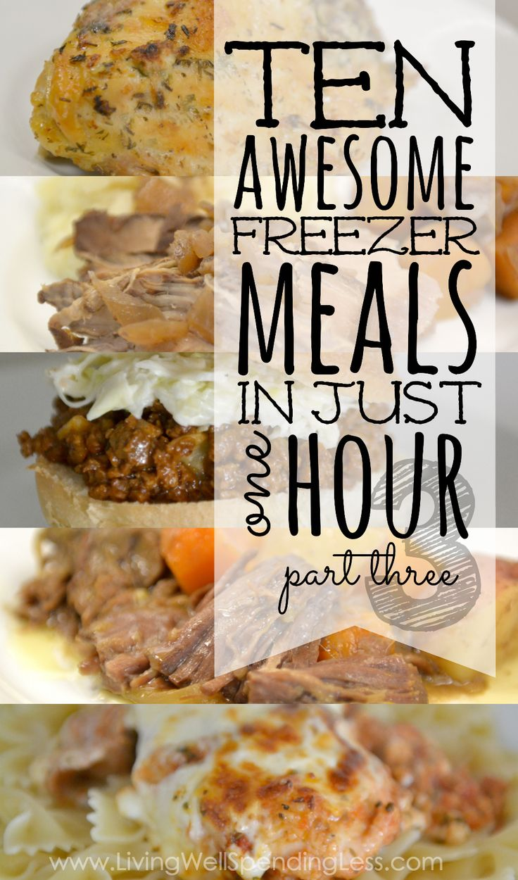"""Want a quick & easy way to make your favorite comfort foods in far less time? This new 10 meals in an hour plan shows you exactly how to whip up TEN delicious home cooked meals in about an hour! All five """"comfort food"""" recipes have been family-approved, are easy to cook and use budget-friendly ingredients! This super helpful post includes everything you need, including a printable shopping list, printable prep & prepare instructions, printable labels, and five delicious recipes!"""
